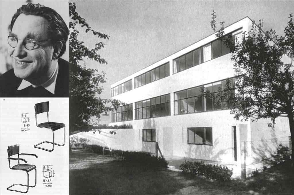 Mart Stam / Stahlrohrstuhl B 43 aus dem Katalog von Thonet, 1933 / Reihenhaus in der Weißenhofsiedlung Stuttgart, 1927